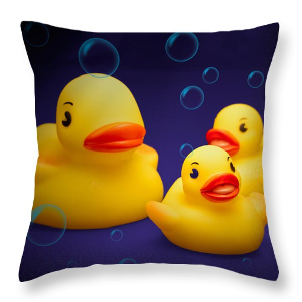 Rubber Duckies Throw Pillow by Tom Mc Nemar