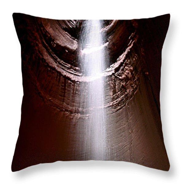 Ruby Falls Throw Pillow by Debra Forand