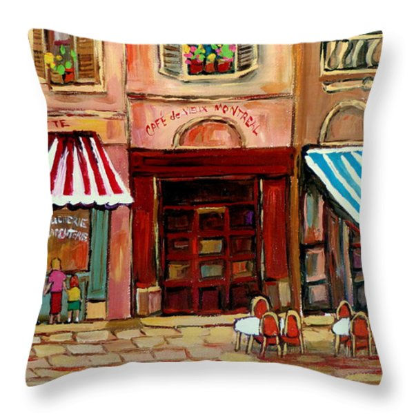 Rue St Paul Montreal Throw Pillow by Carole Spandau