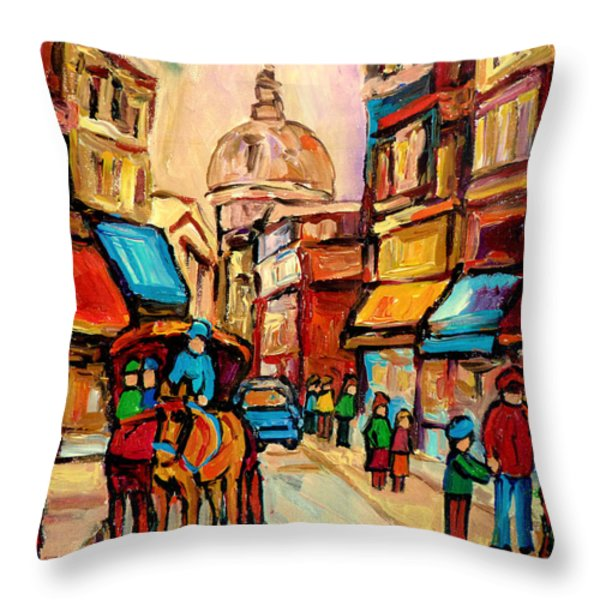 RUE ST. PAUL OLD MONTREAL STREETSCENE Throw Pillow by CAROLE SPANDAU
