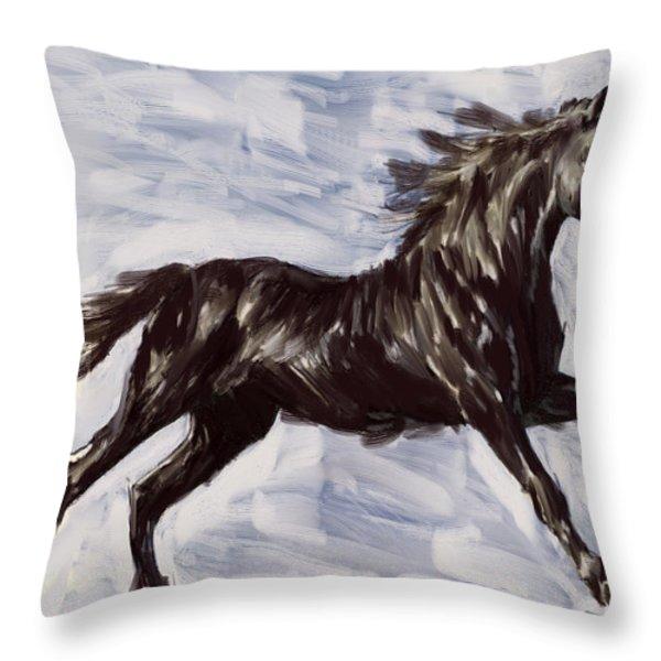 Running Horse Throw Pillow by Richard De Wolfe