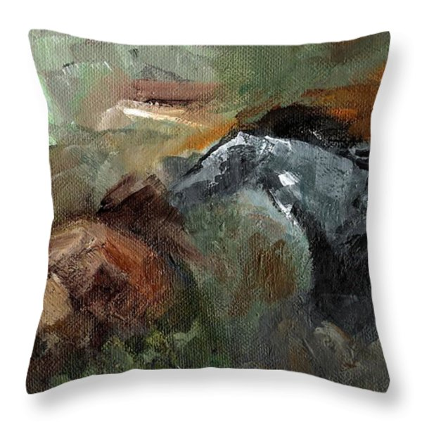 Running Through  Sage Throw Pillow by Frances Marino