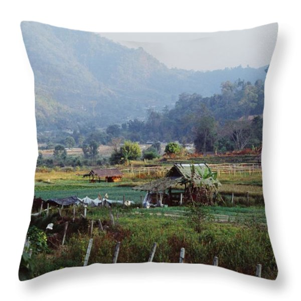 Rural Scene Near Chiang Mai, Thailand Throw Pillow by Bilderbuch