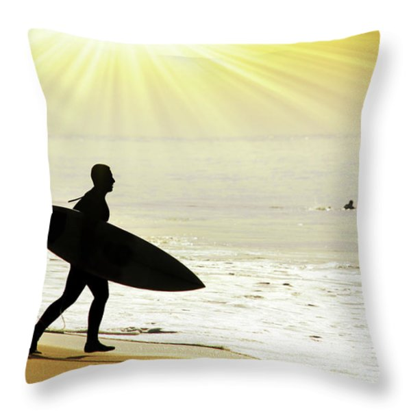 rushing surfer Throw Pillow by Carlos Caetano