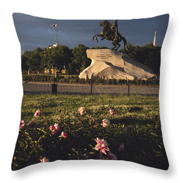 Russia, St. Petersburg, The Bronze Throw Pillow by Keenpress