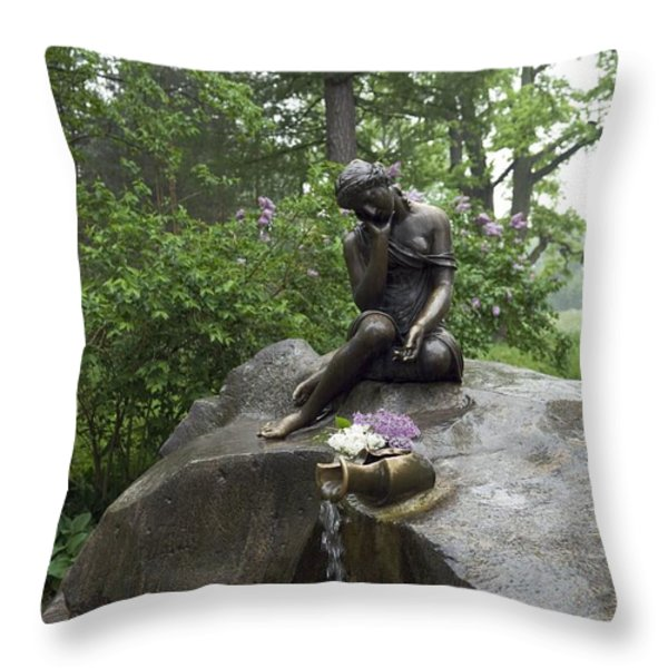 Russia, Tzarskoje Selo, Statue Throw Pillow by Keenpress