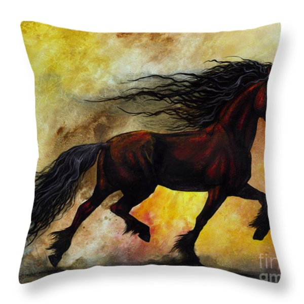 Rust Unicorn Throw Pillow by Stanley Morrison