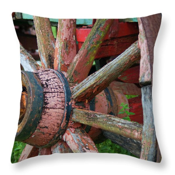 Rustic Spoke Throw Pillow by Robert Smith