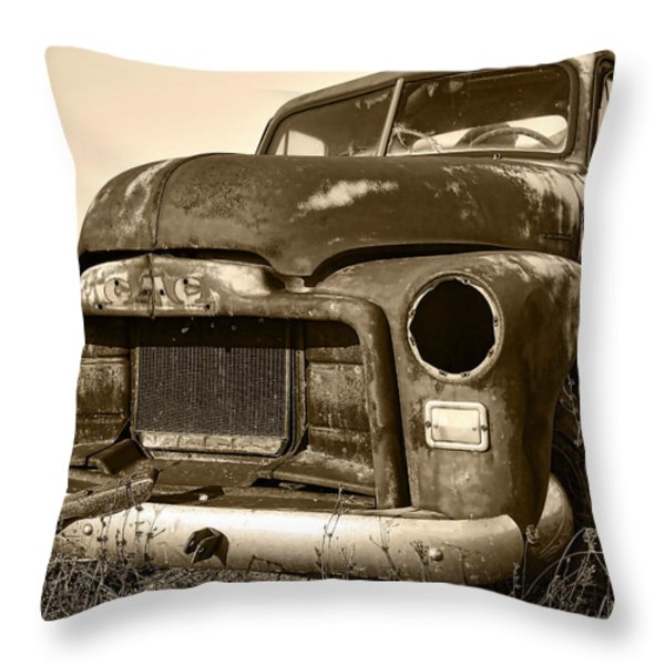 Rusty But Trusty Old GMC Pickup Throw Pillow by Gordon Dean II