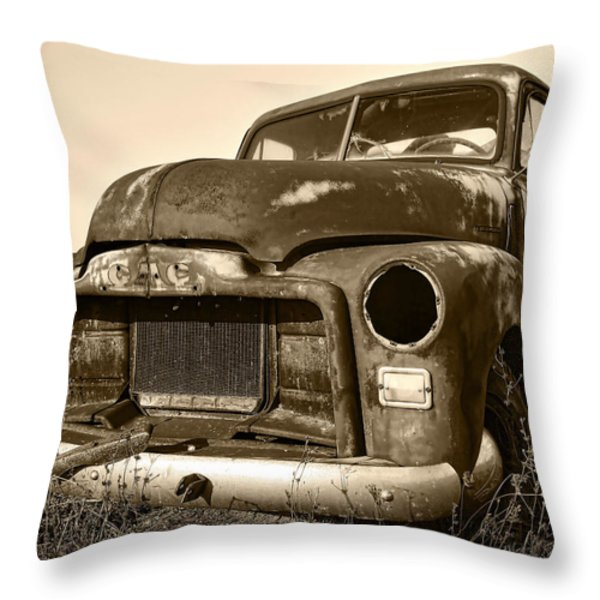 Rusty But Trusty Old GMC Pickup Truck - Sepia Throw Pillow by Gordon Dean II