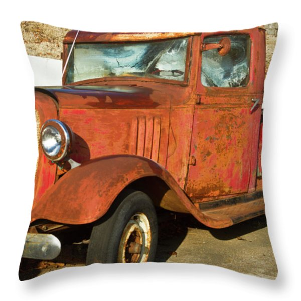 Rusty Chevrolet Pickup Truck 1934 Throw Pillow by Douglas Barnett