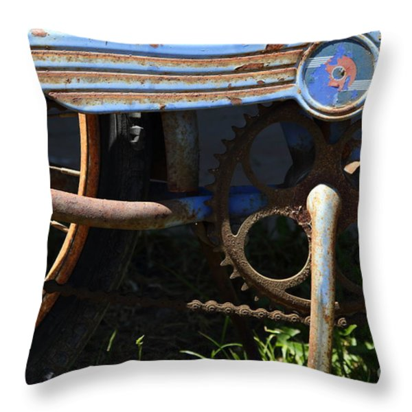Rusty Old Bicycle . 7D15946 Throw Pillow by Wingsdomain Art and Photography