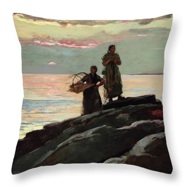 Saco Bay Throw Pillow by Winslow Homer