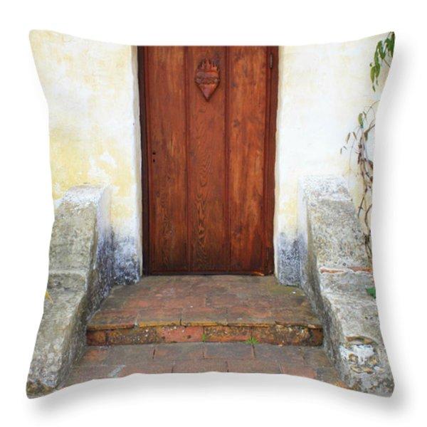 Sacred Heart Door Throw Pillow by Carol Groenen