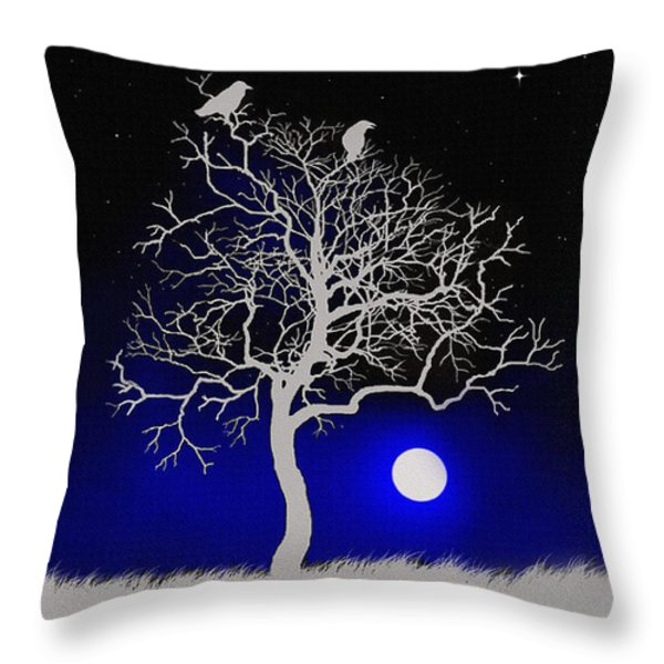 Sacred Raven Tree Throw Pillow by Robert Foster