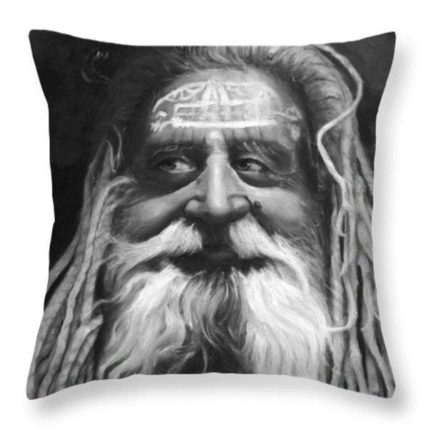Sadhu  Throw Pillow by Enzie Shahmiri