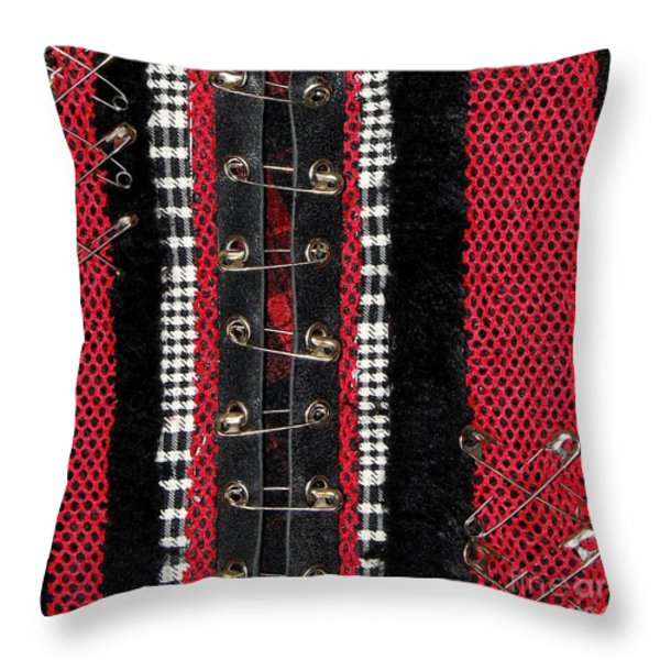 Safety Pins 2 Throw Pillow by Roseanne Jones