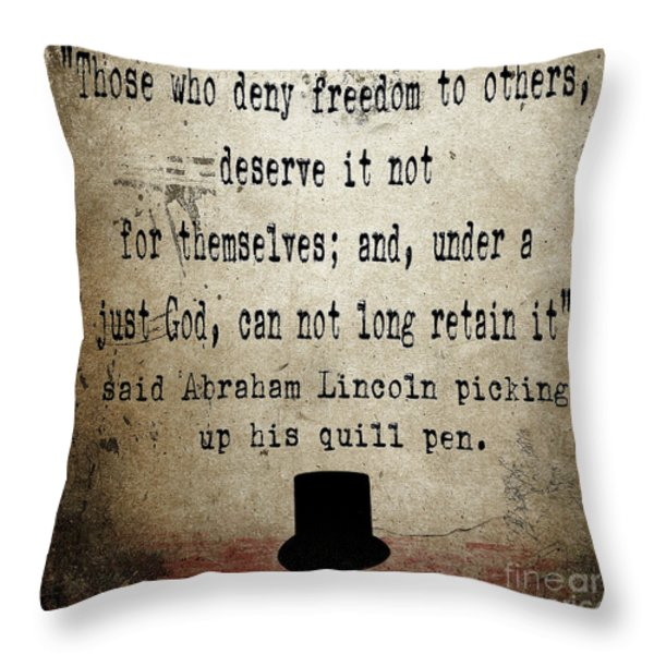 Said Abraham Lincoln Throw Pillow by Cinema Photography