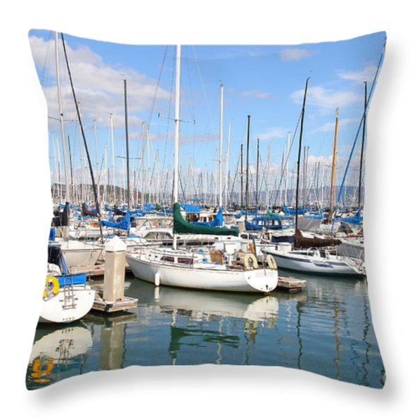 Sail Boats at San Francisco China Basin Pier 42 With The Bay Bridge in The Background . 7D7664 Throw Pillow by Wingsdomain Art and Photography