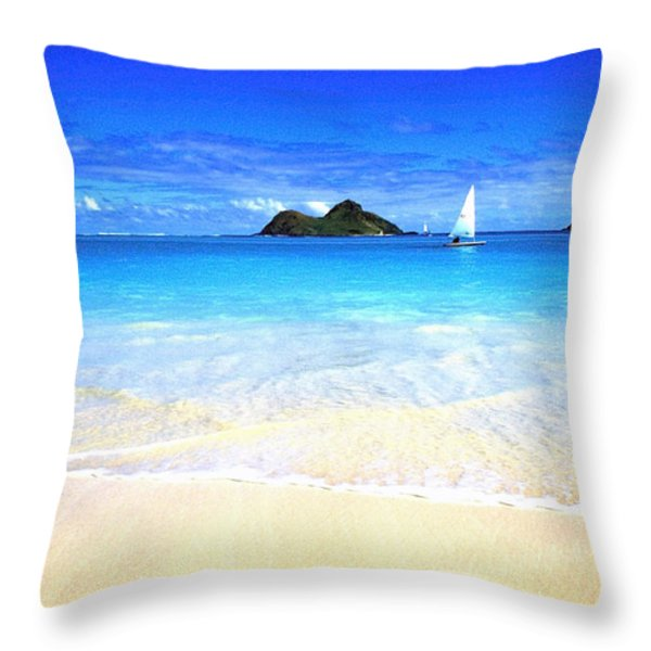 Sailboat and Islands Throw Pillow by Thomas R Fletcher