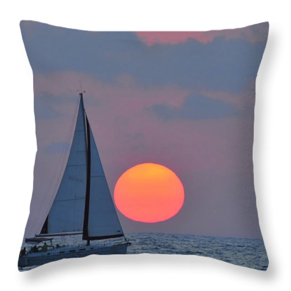 Sailboat at sunset  Throw Pillow by Shay Levy