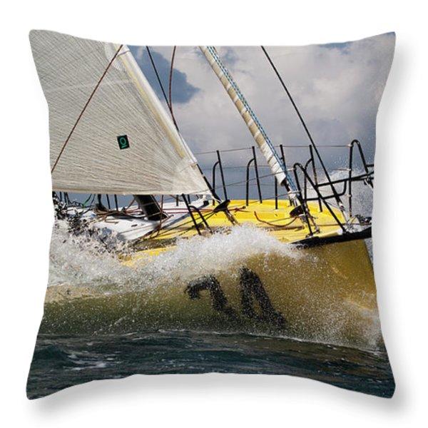 Sailboat Le Pingouin Open 60 Charging  Throw Pillow by Dustin K Ryan