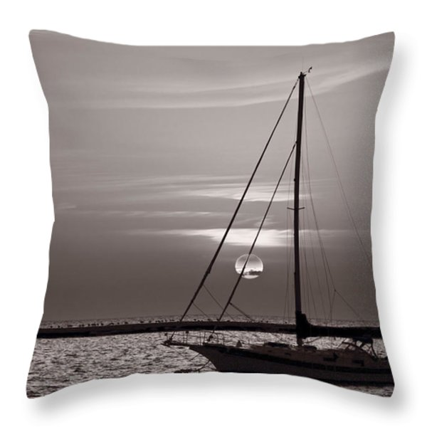 Sailboat Sunrise In B And W Throw Pillow by Steve Gadomski