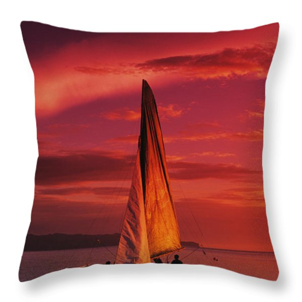 Sailing, Boracay Island Throw Pillow by William Waterfall - Printscapes