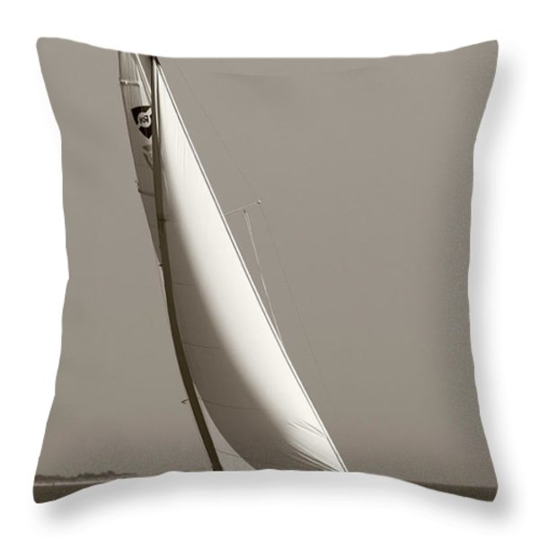 Sailing Sailboat Sloop Beating to Windward Throw Pillow by Dustin K Ryan