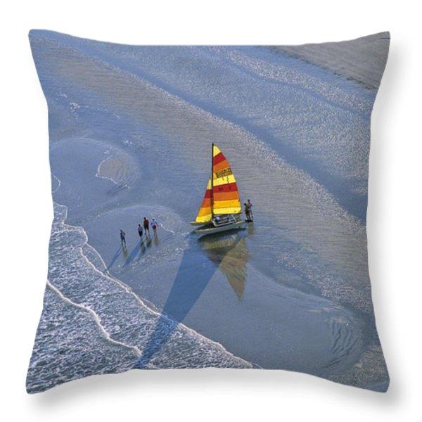 Sailors Take To The Ocean While Throw Pillow by Kenneth Garrett