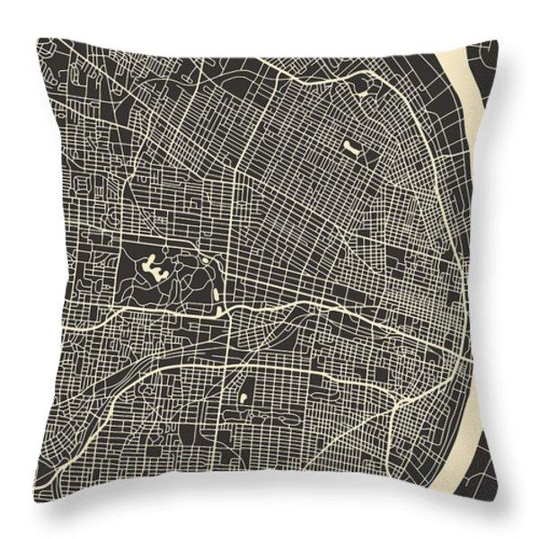 SAINT LOUIS MAP Throw Pillow by Jazzberry Blue