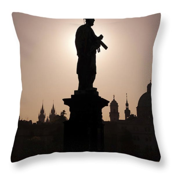 Saint Throw Pillow by Michal Boubin