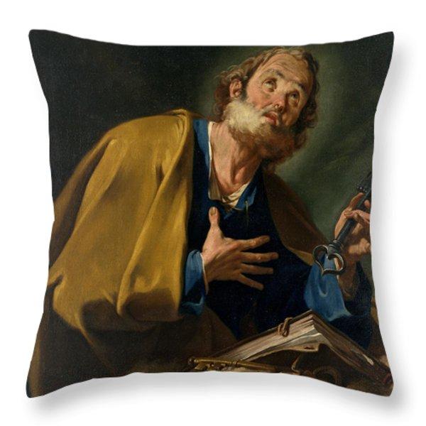 Saint Peter Throw Pillow by Giovanni Battista Pittoni