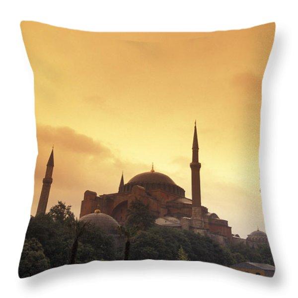 Saint Sophia Hagia Sophia At Sunset Throw Pillow by Richard Nowitz
