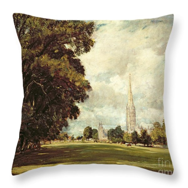 Salisbury Cathedral From Lower Marsh Close Throw Pillow by John Constable