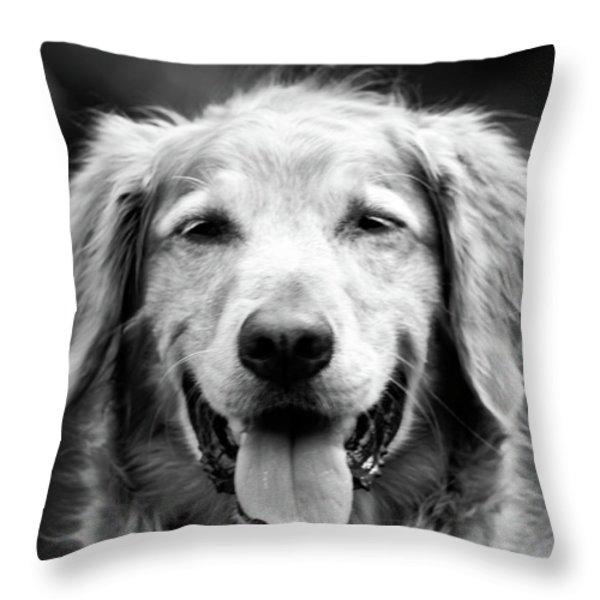 Sam Smiling Throw Pillow by Julie Niemela