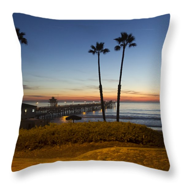San Clemente Pier at Sunset Throw Pillow by Barbara Eads