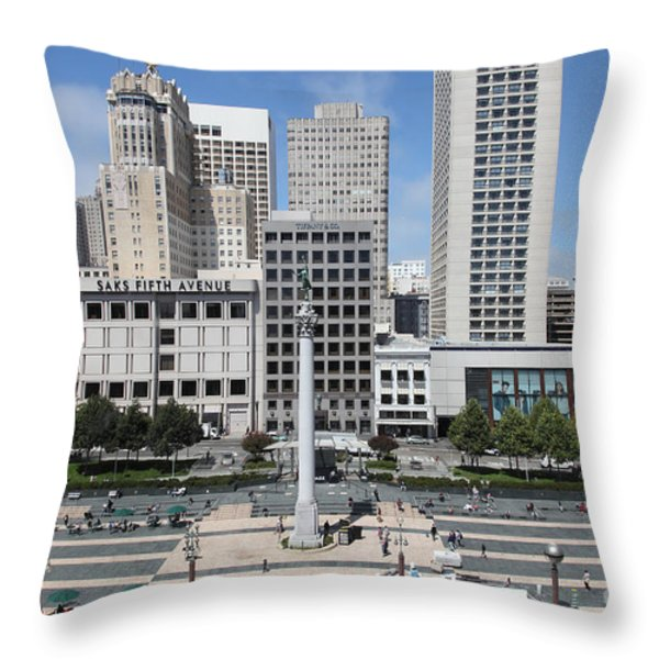 San Francisco - Union Square - 5D17938 Throw Pillow by Wingsdomain Art and Photography