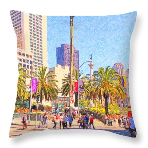 San Francisco Union Square Throw Pillow by Wingsdomain Art and Photography