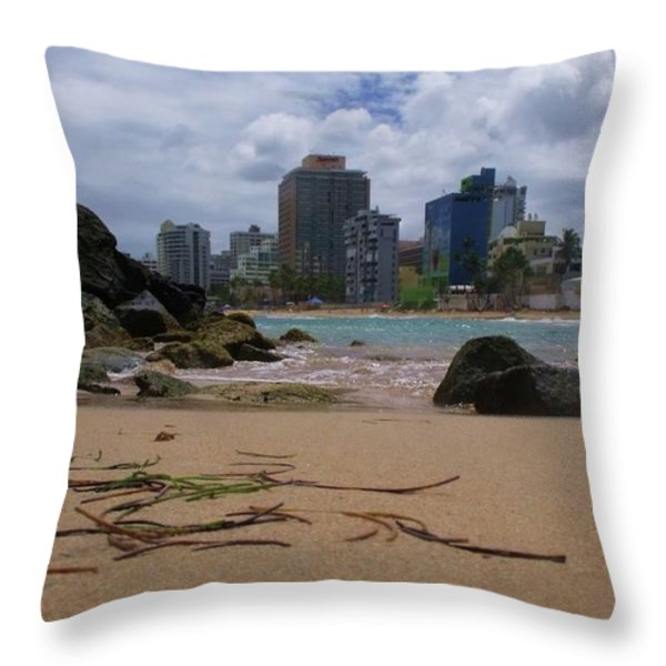 San Juan Beach IV Throw Pillow by Anna Villarreal Garbis