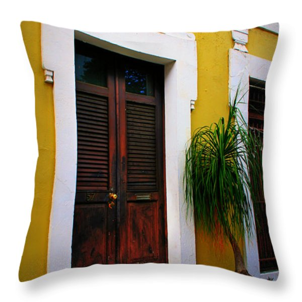 San Juan Doors Throw Pillow by Perry Webster