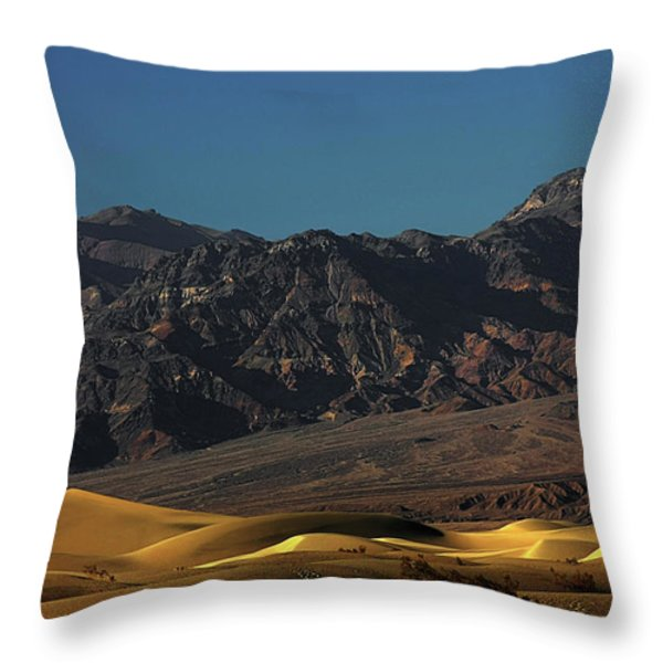 Sand Dunes - Death Valley's Gold Throw Pillow by Christine Till
