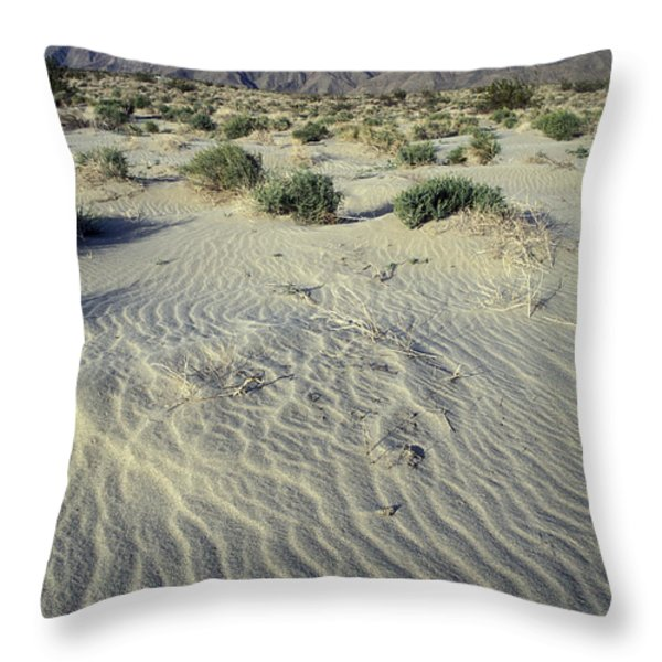 Sand Dunes And San Ysidro Mountains Throw Pillow by Rich Reid