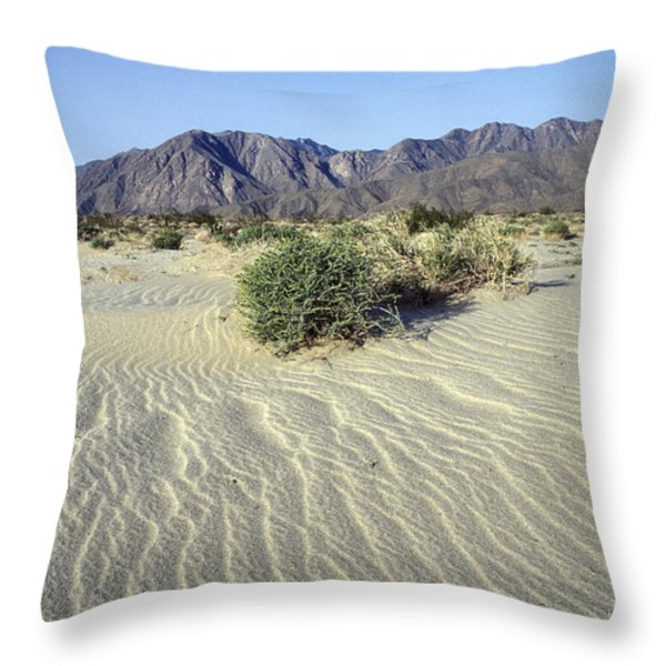 Sand Dunes & San Ysidro Mountains At El Throw Pillow by Rich Reid