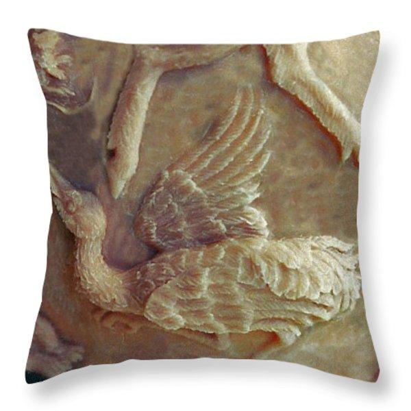 Sandhill Crane Detail From Bear Cub Bowl Original Clay Throw Pillow by Dawn Senior-Trask