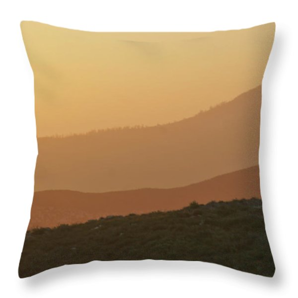 Sandstorm During Sunset On Old Highway Route 80 Throw Pillow by Christine Till
