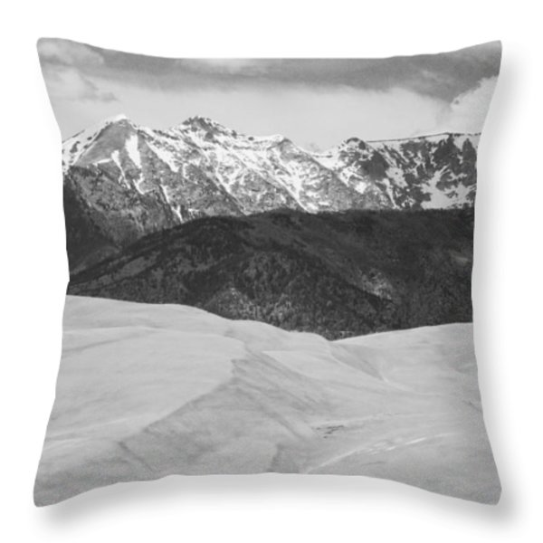 Sangre De Cristo Mountains And The Great Sand Dunes Bw Throw Pillow by James BO  Insogna