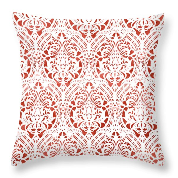 Throw Pillow featuring the painting Sanguine Vintage Pattern by Frank Tschakert