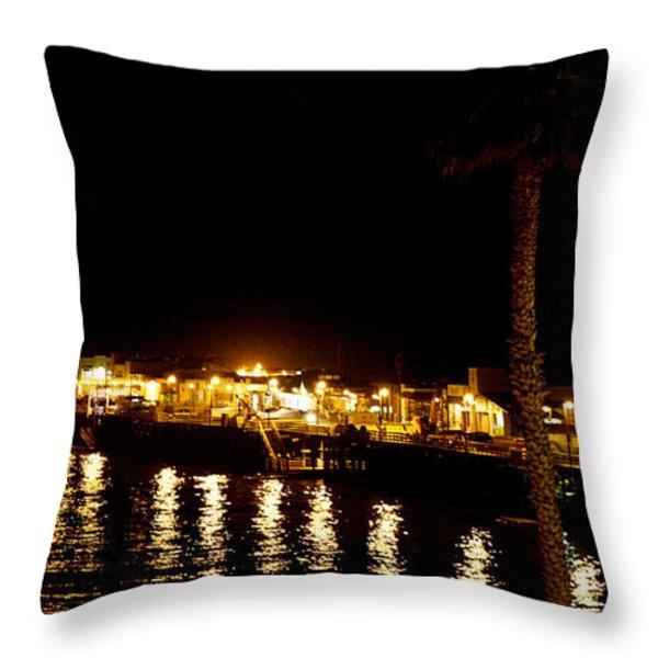 Santa Cruz Pier at Night Throw Pillow by Marilyn Hunt