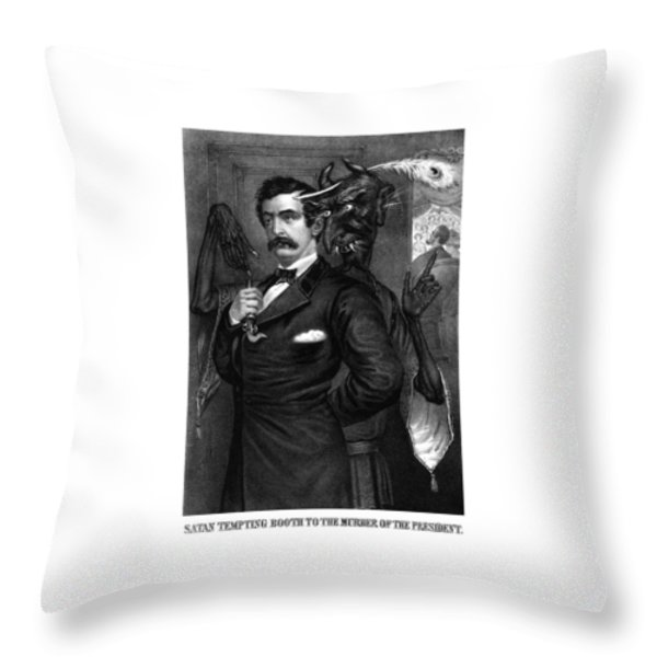 Satan Tempting John Wilkes Booth Throw Pillow by War Is Hell Store